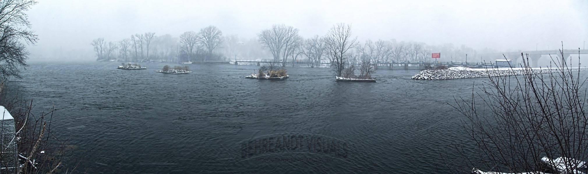 Panoramic view of the Fox River in Appleton, Wisconsin during a snow storm.
