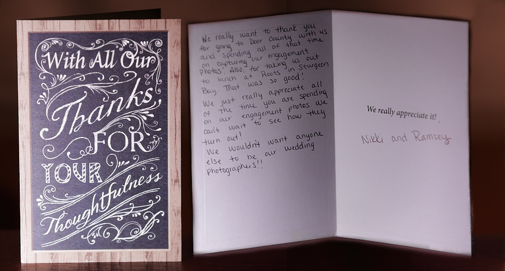 Thank you card from clients for Engagement Photos.