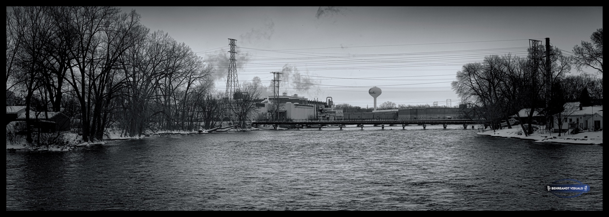 View of industrial plants on the Fox River, Menasha, Wisconsin